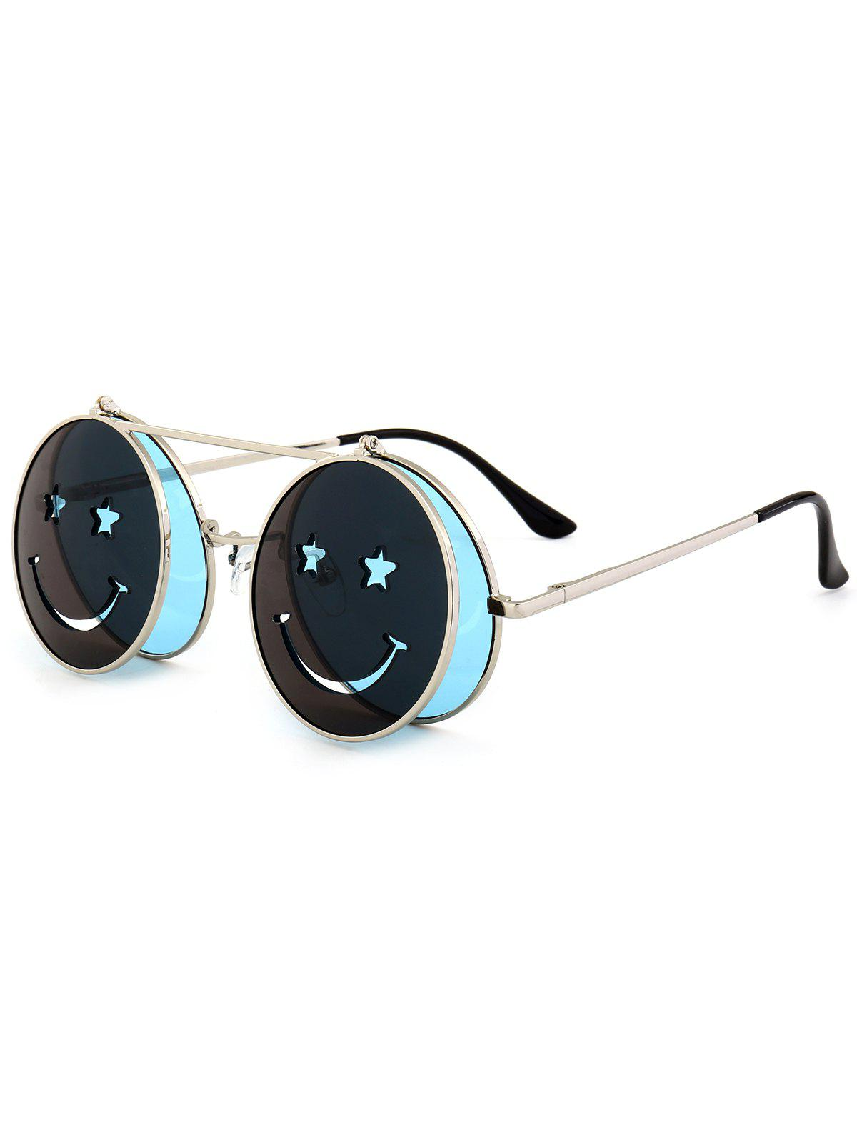 Cute Smiling Face Embellished Flip-open Circle Shaped Sunglasses - LIGHT BLUE