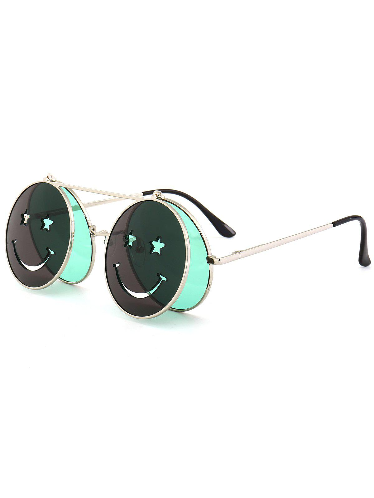 Cute Smiling Face Embellished Flip-open Circle Shaped Sunglasses - GREEN