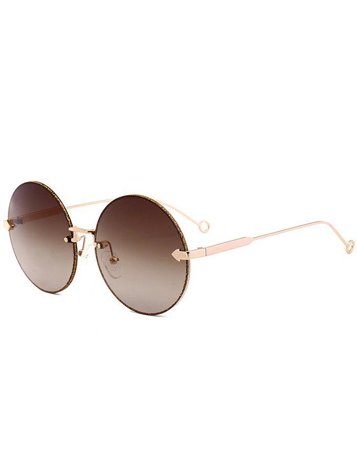 UV Protection Arrow Decorated  Rimless Round Sunglasses - TEA COLORED