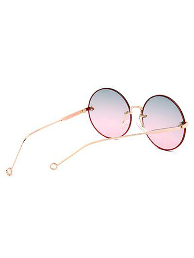 UV Protection Arrow Decorated  Rimless Round Sunglasses - BLUE/PINK
