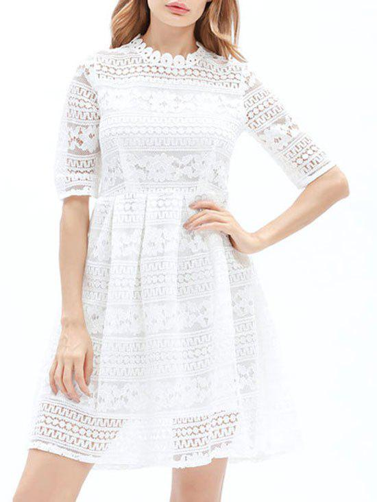 Mini Lace Embroidered A Line Dress - WHITE XL