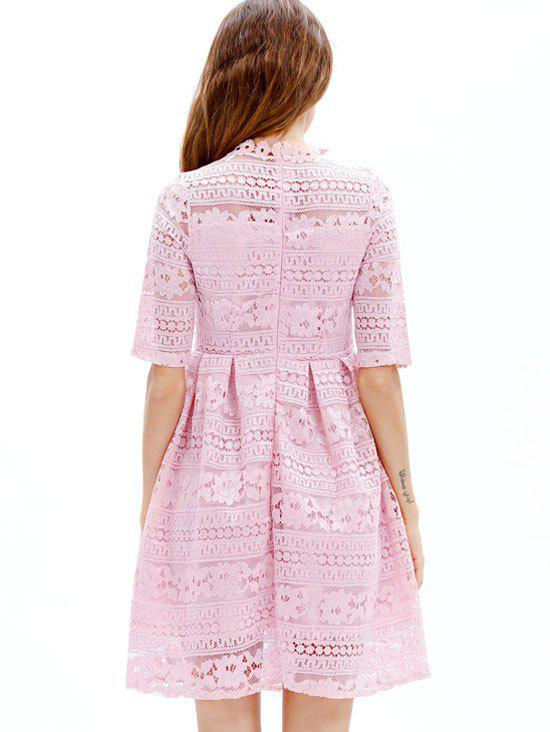 Mini Lace Embroidered A Line Dress - PINK M