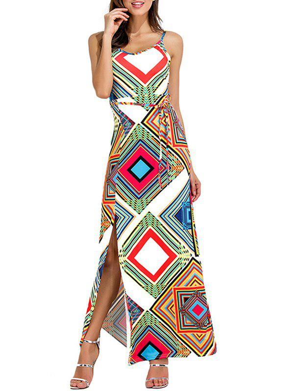 Geometrical Cut Out High Slit Maxi Dress - WHITE M
