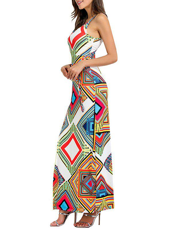 Geometrical Cut Out High Slit Maxi Dress - WHITE XL