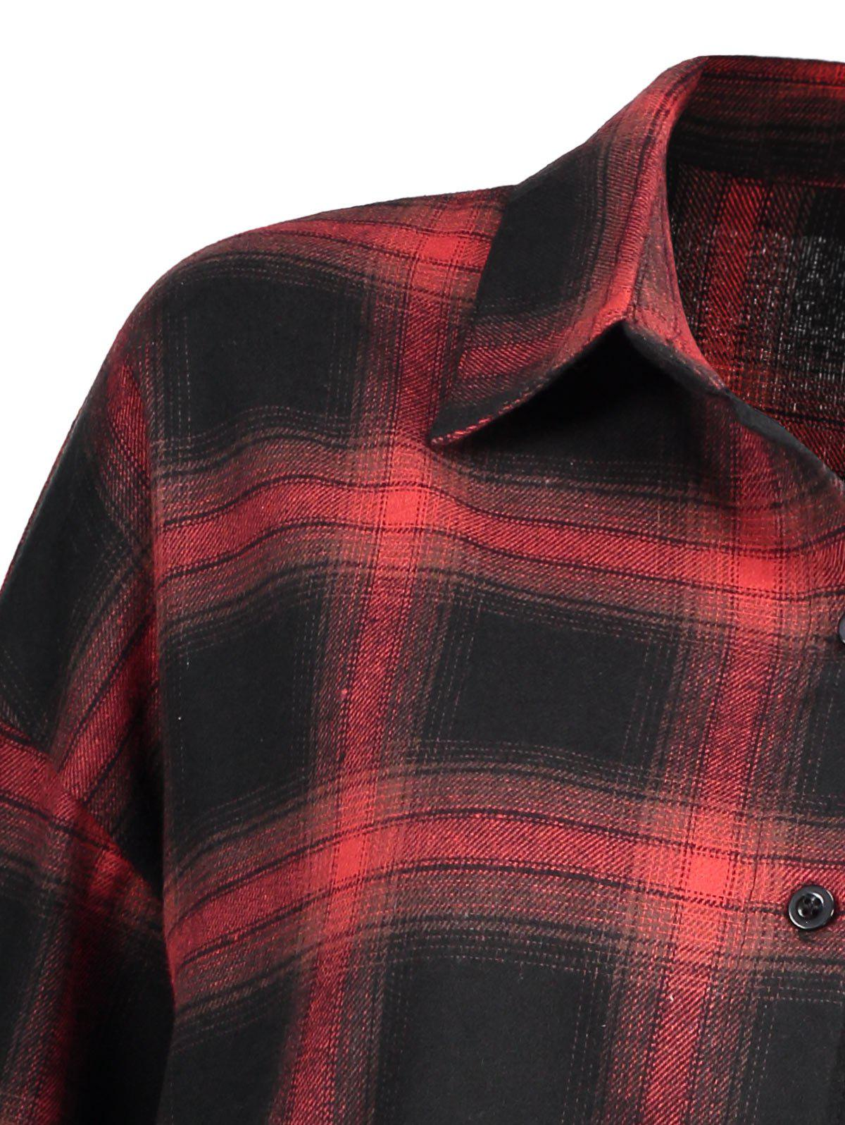 Plus Size Button Up Check Shirt - CHECKED 3XL