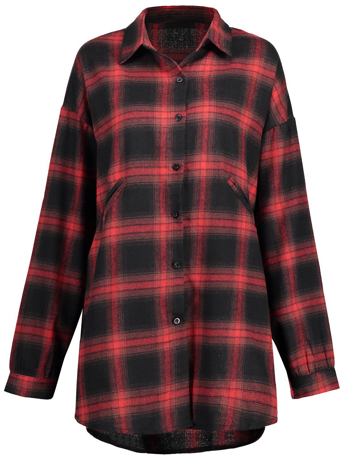 Plus Size Button Up Check Shirt - CHECKED 2XL