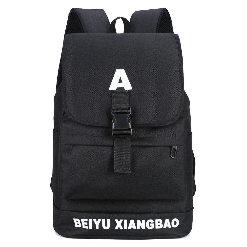 Letter Print Buckle Strap Backpack - BLACK