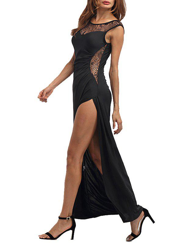 High Slit Draped Maxi Party Dress - BLACK M