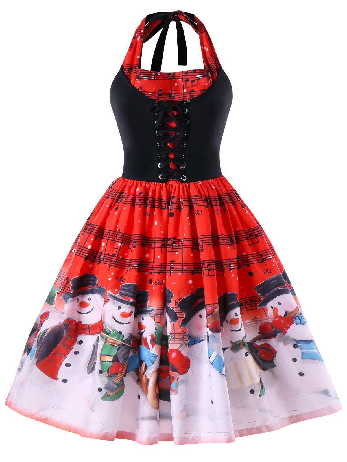 Christmas Plus Size Music Notes Halter Swing Dress - RED 2XL