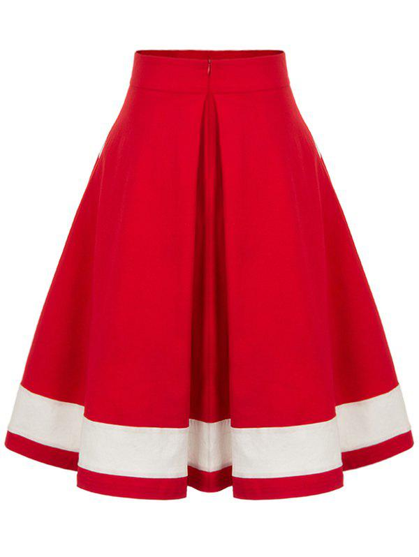 High Waisted Buttoned Midi Pleated Skirt - RED S