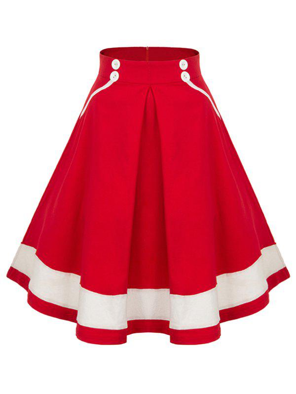 High Waisted Buttoned Midi Pleated Skirt - RED M