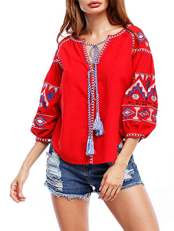 Tribal Print Tassels Puff Sleeve Blouse - RED M