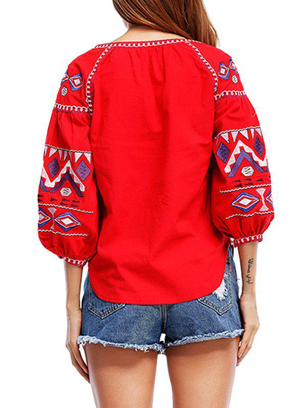 Tribal Print Tassels Puff Sleeve Blouse - RED S