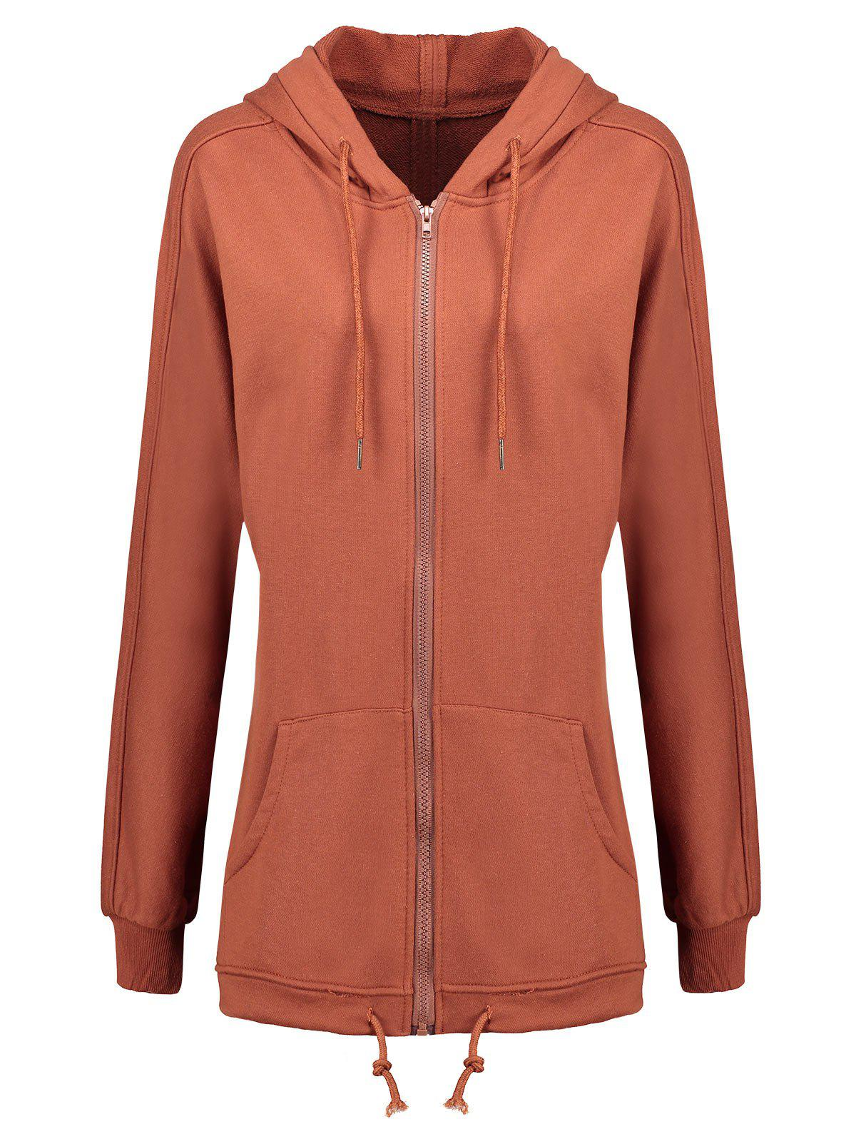 Plus Size Zip Up Hooded Coat - SUGAR HONEY 5XL