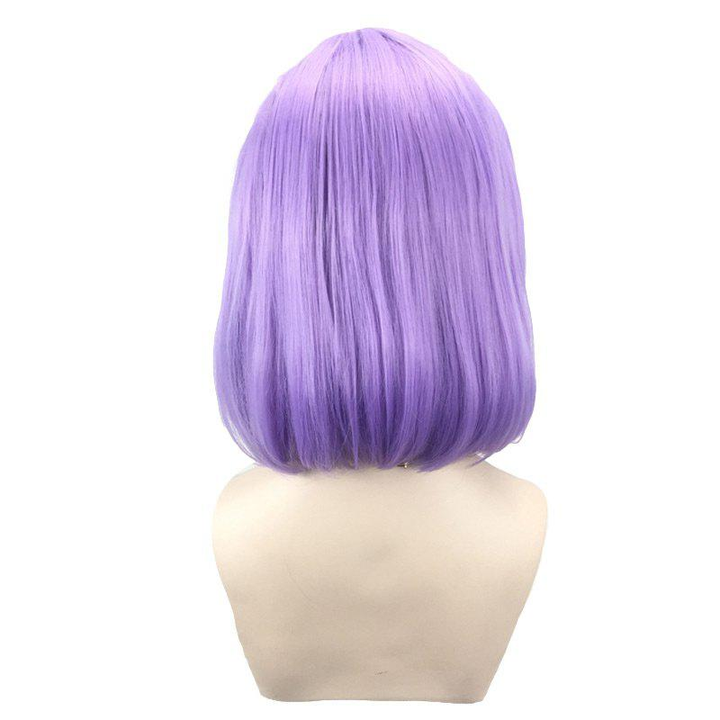 Short Side Parting Straight Bob Synthetic Lace Front Wig - LIGHT PURPLE
