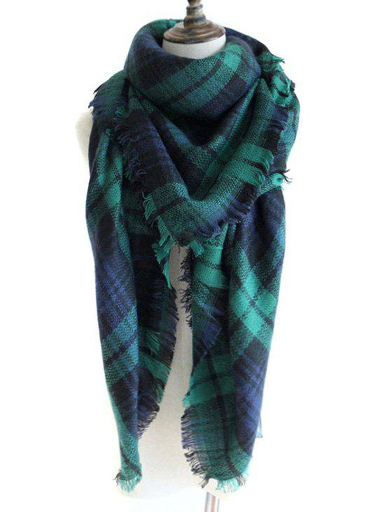 Checkered Pattern Artificial Wool Fringed Shawl Scarf - DEEP GREEN
