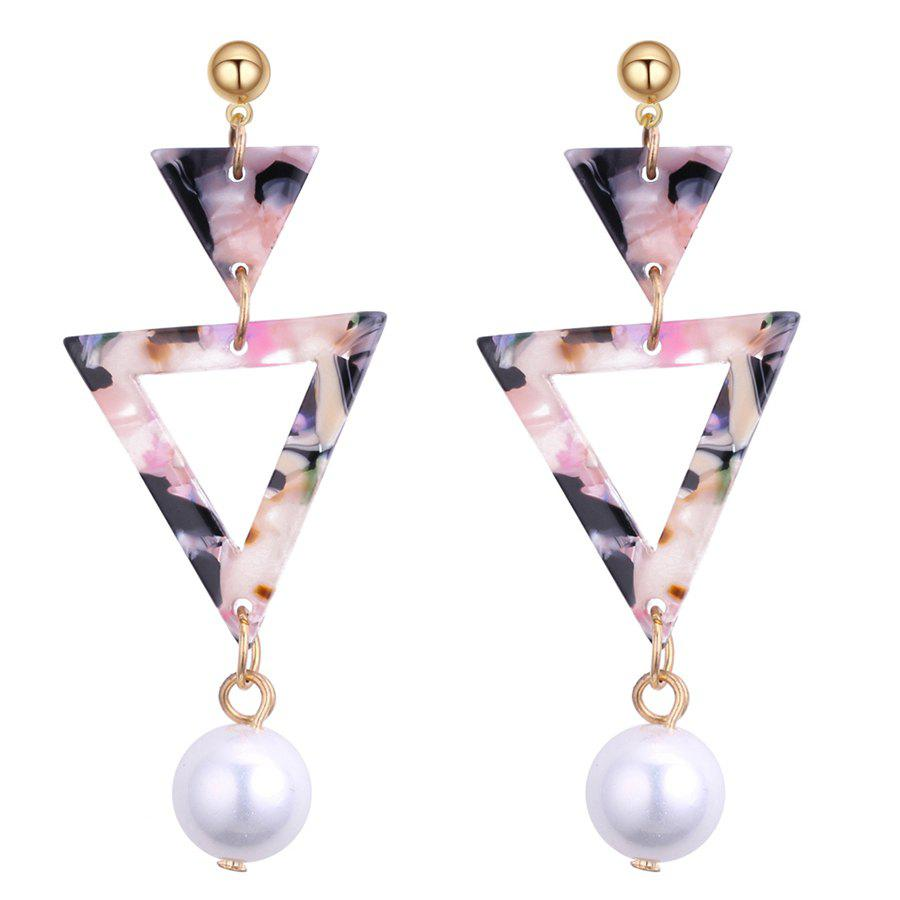 Double Triangle Linked Faux Pearl Drop Earrings - COLORFUL