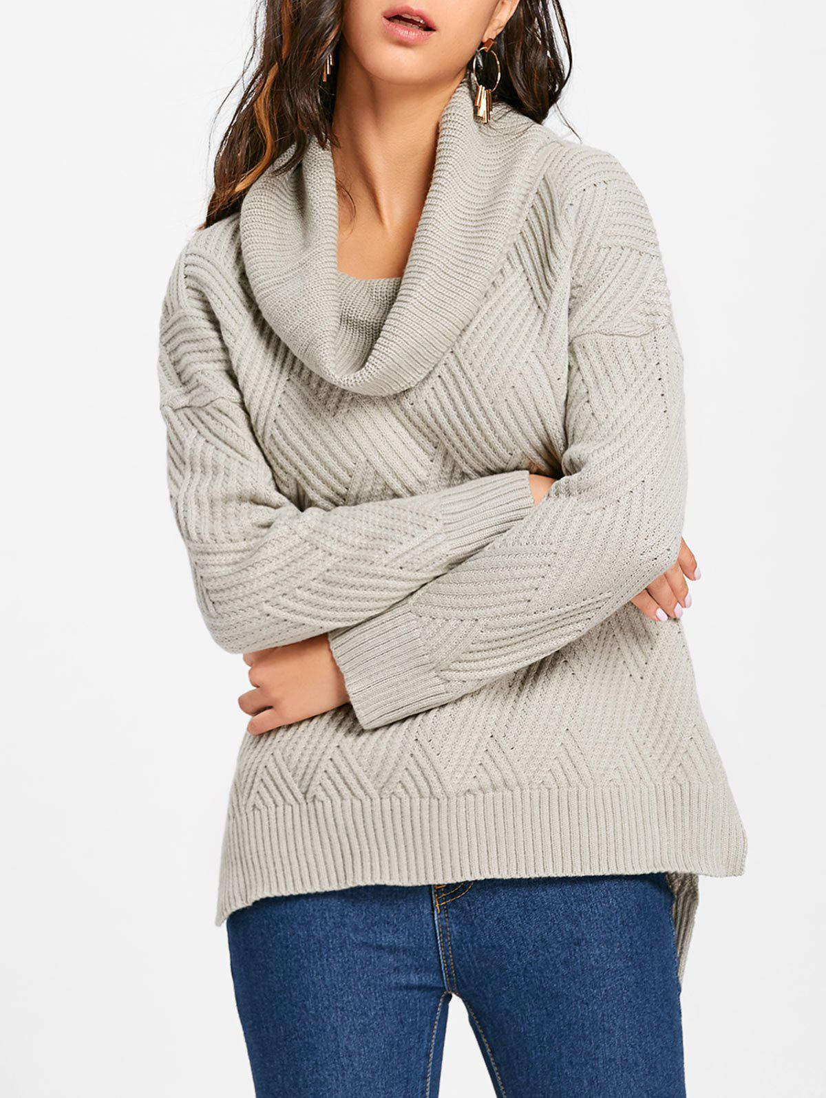 Cowl Neck Side Slit Knitted Sweater - GRAY L