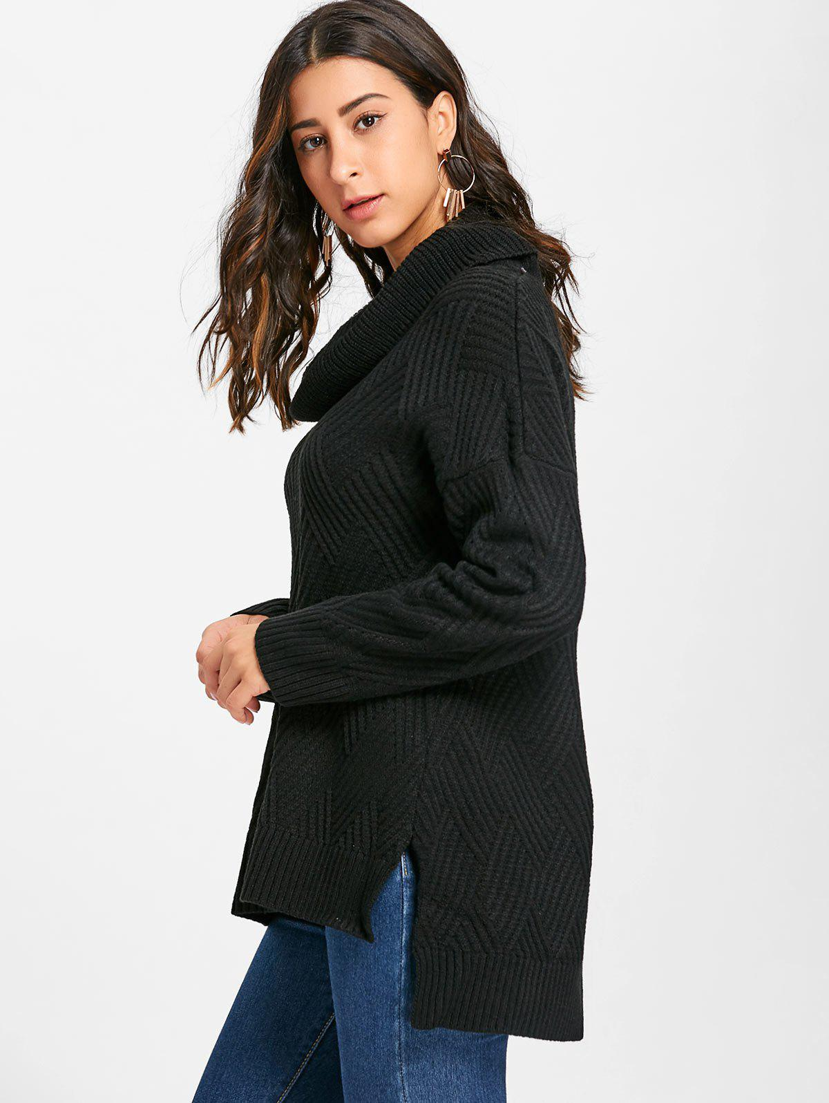 Cowl Neck Side Slit Knitted Sweater - BLACK S