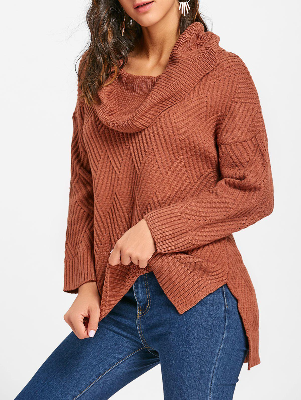 Cowl Neck Side Slit Knitted Sweater - BROWN XL