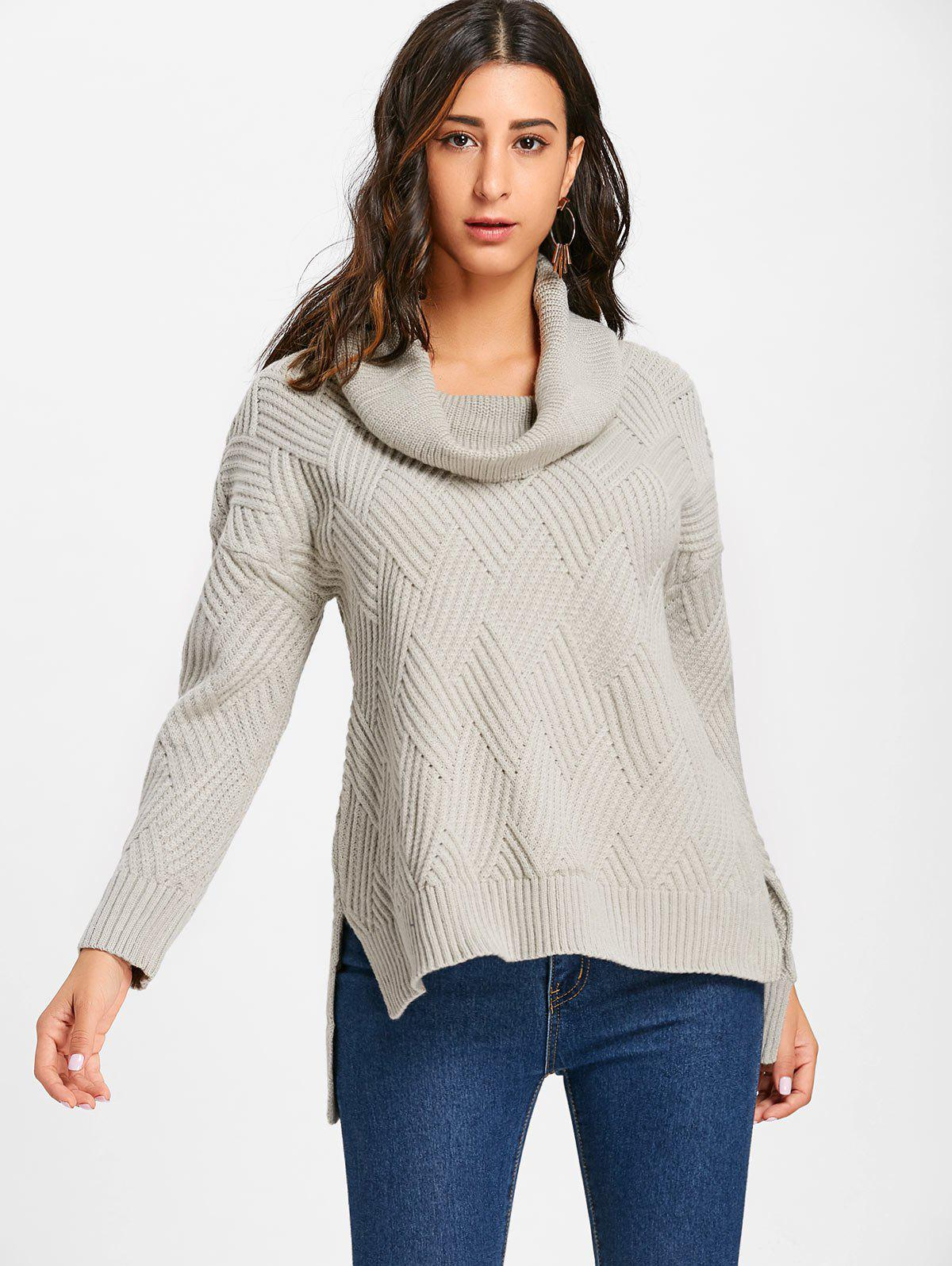 Cowl Neck Side Slit Knitted Sweater - GRAY M