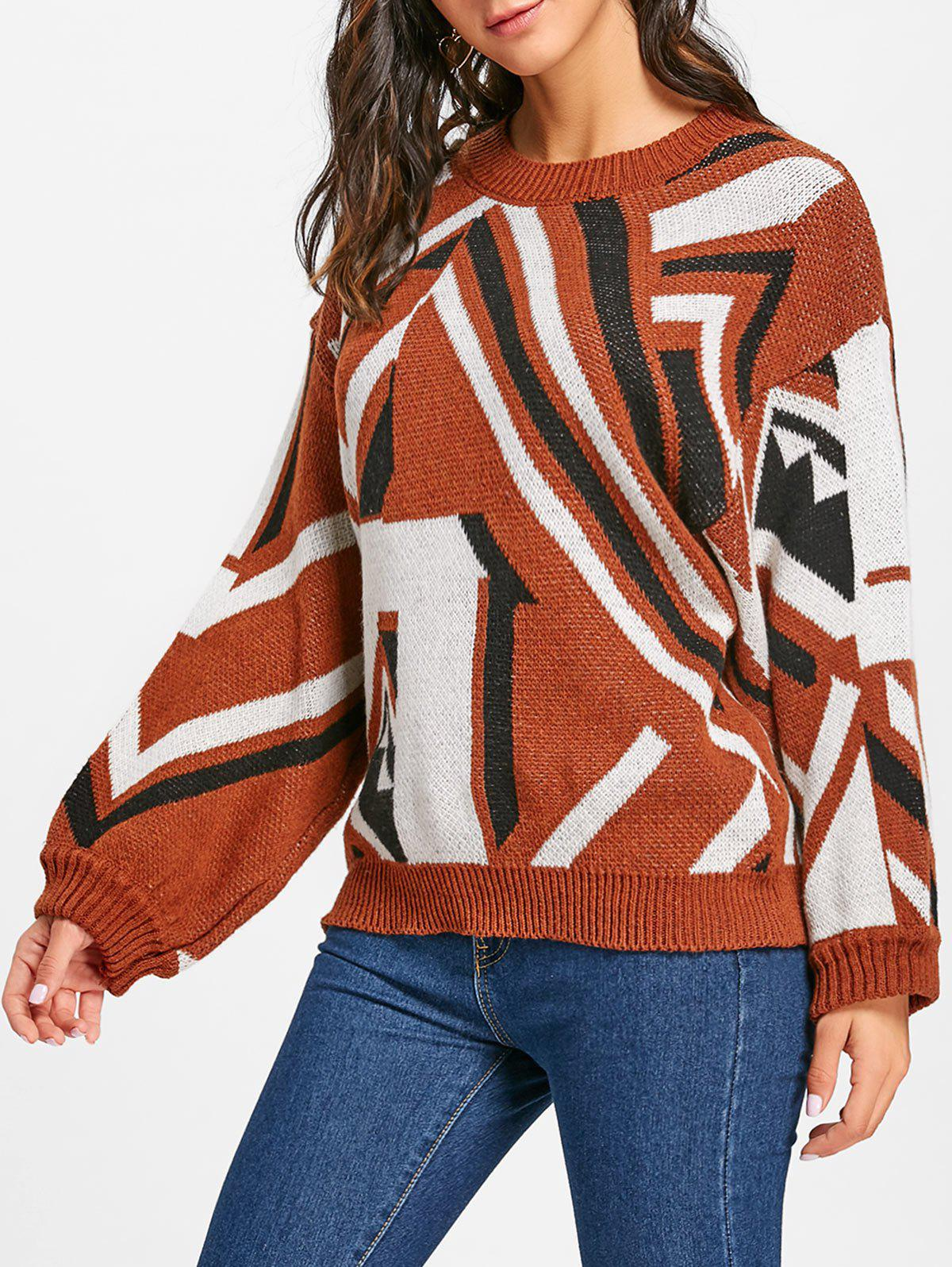 Dropped Shoulder Geometric Jacquard Sweater - COLORMIX ONE SIZE