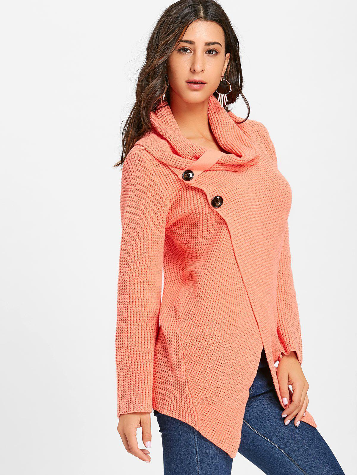 Cowl Neck Split Front Knitted Sweater - ORANGEPINK XL
