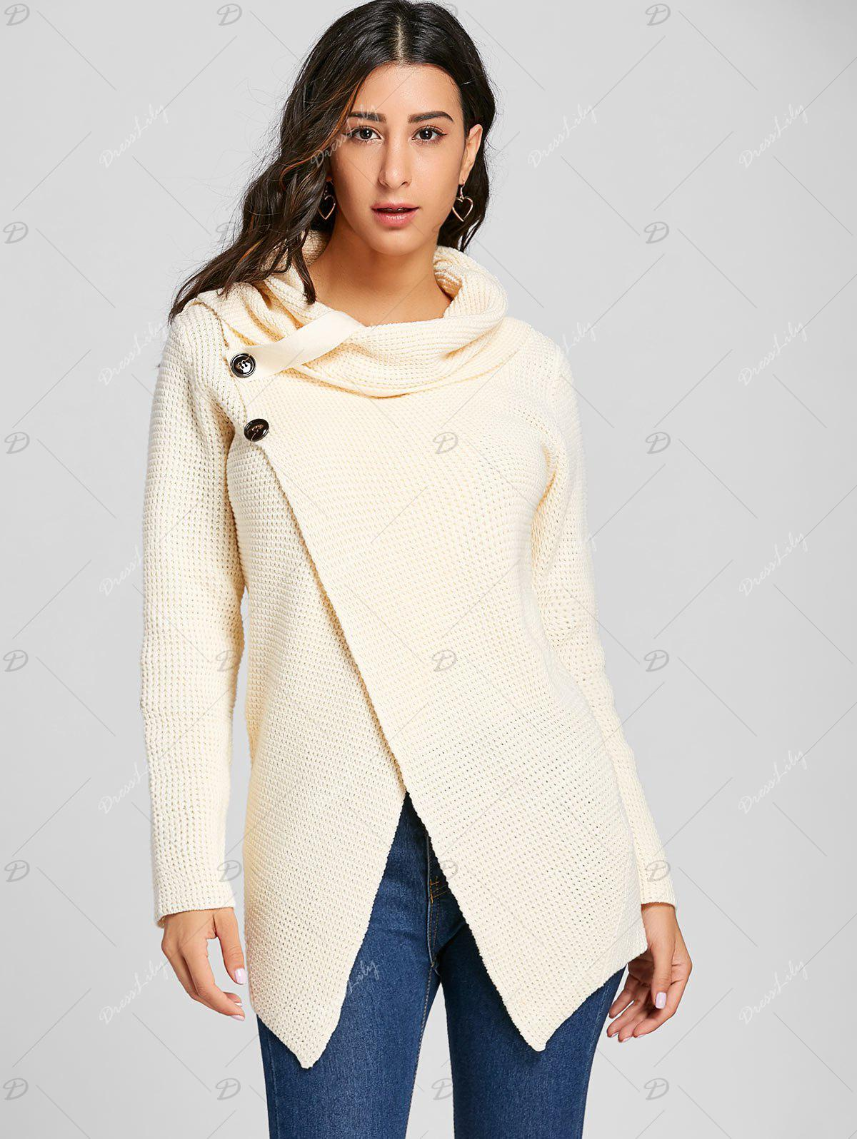 Cowl Neck Split Front Knitted Sweater - OFF WHITE S