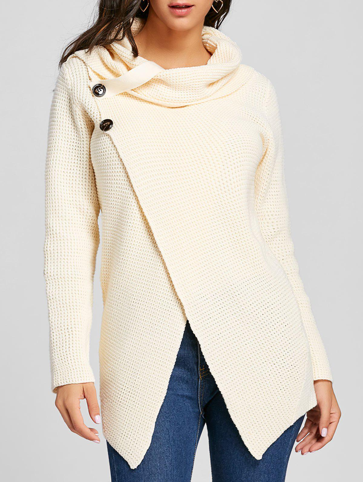 Cowl Neck Split Front Knitted Sweater - OFF WHITE 2XL