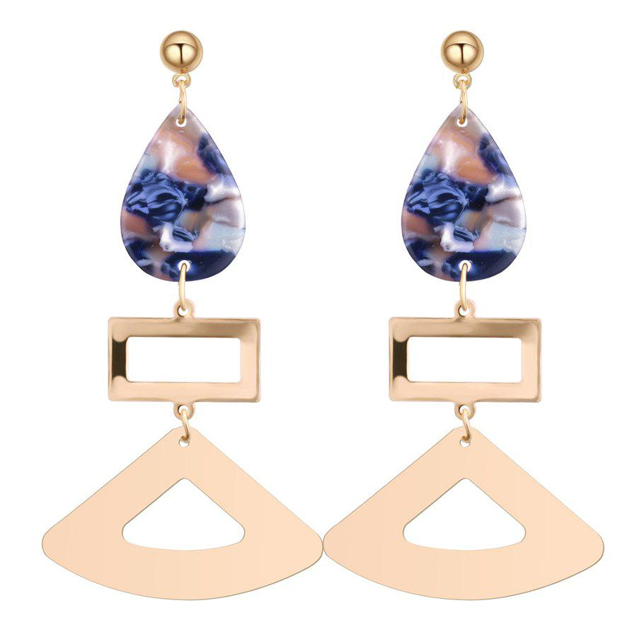 Geometric Shape Waterdrop Acrylic Drop Earrings - BLUE
