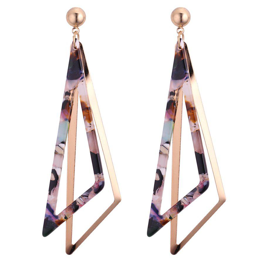 Triangle Double Layered Drop Earrings - COLORFUL