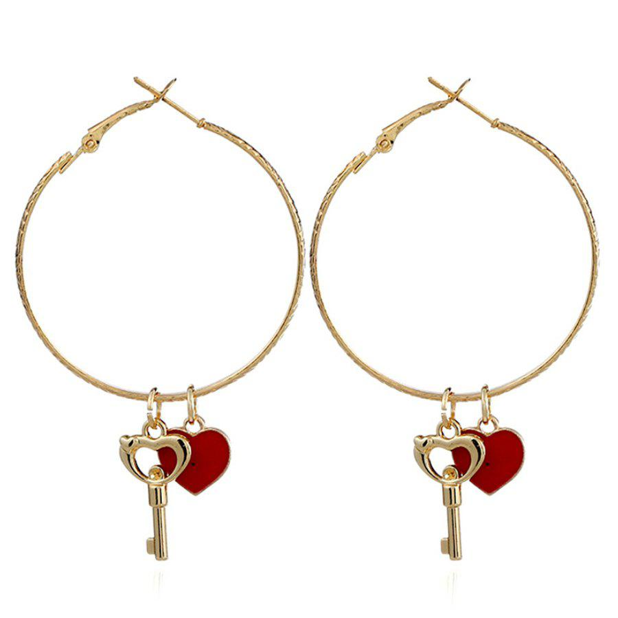 где купить Alloy Key Heart Hoop Drop Earrings дешево