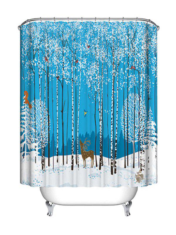 Christmas Forest Animals Print Waterproof Fabric Shower Curtain - COLORMIX W71 INCH * L79 INCH