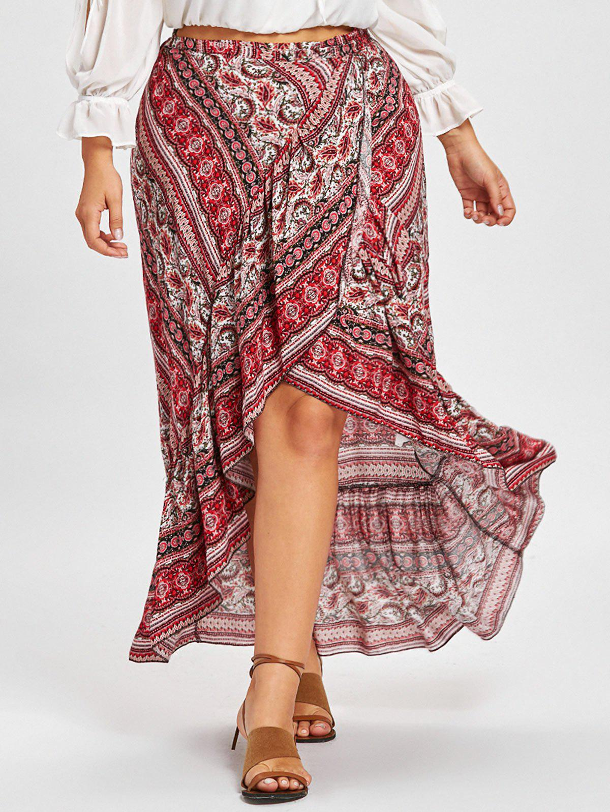 Bohemian Ruffle Plus Size Wrap Skirt - RED ONE SIZE