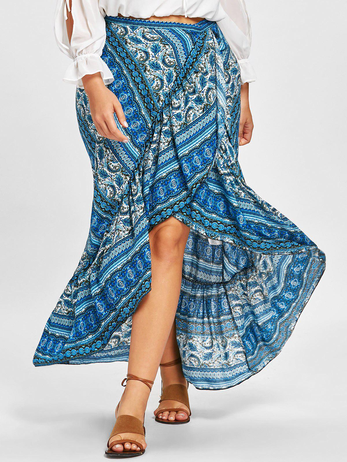 Bohemian Ruffle Plus Size Wrap Skirt - BLUE ONE SIZE