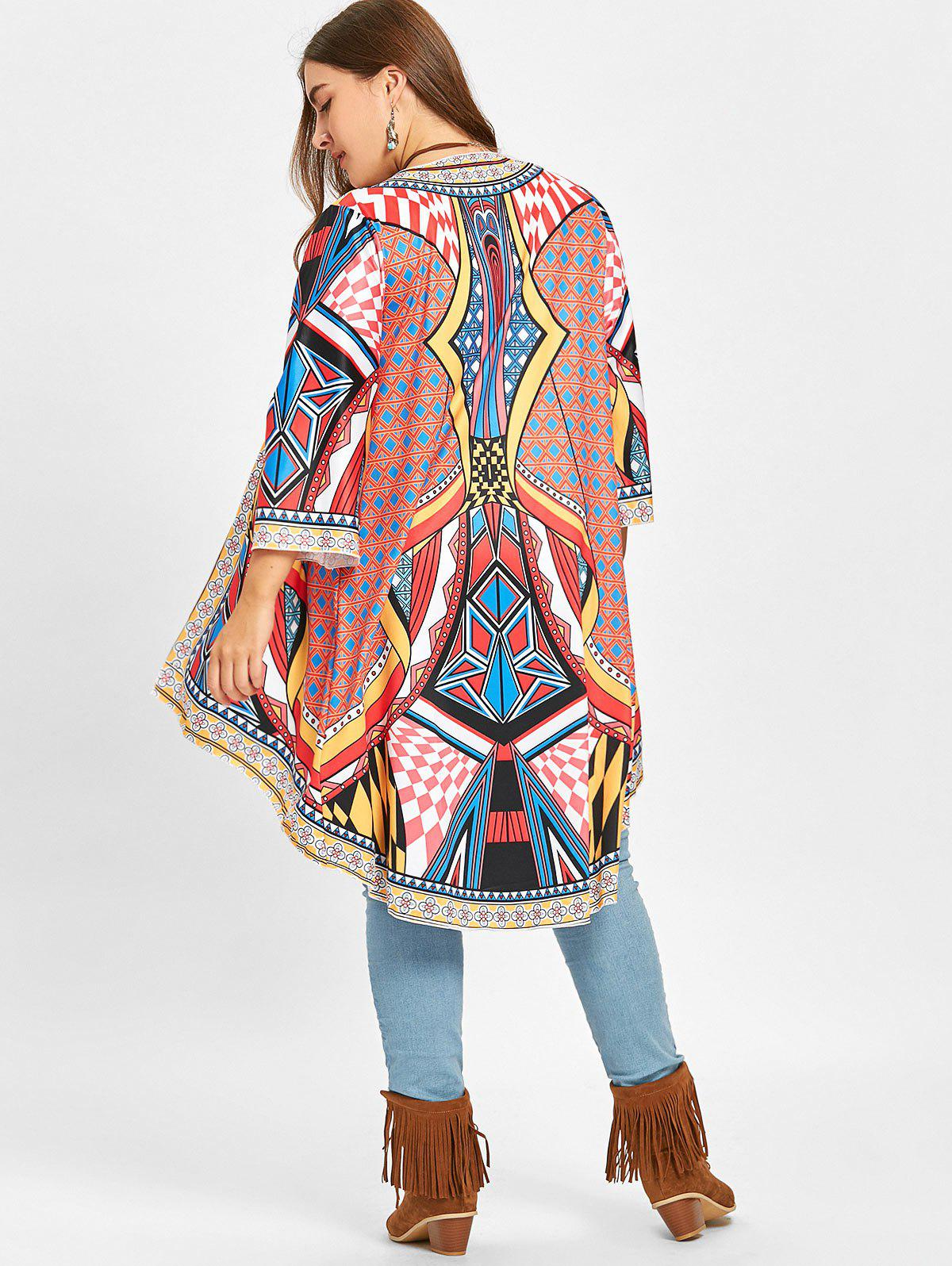 High Low Ethnic Geometric Plus Size Duster Coat - COLORMIX ONE SIZE