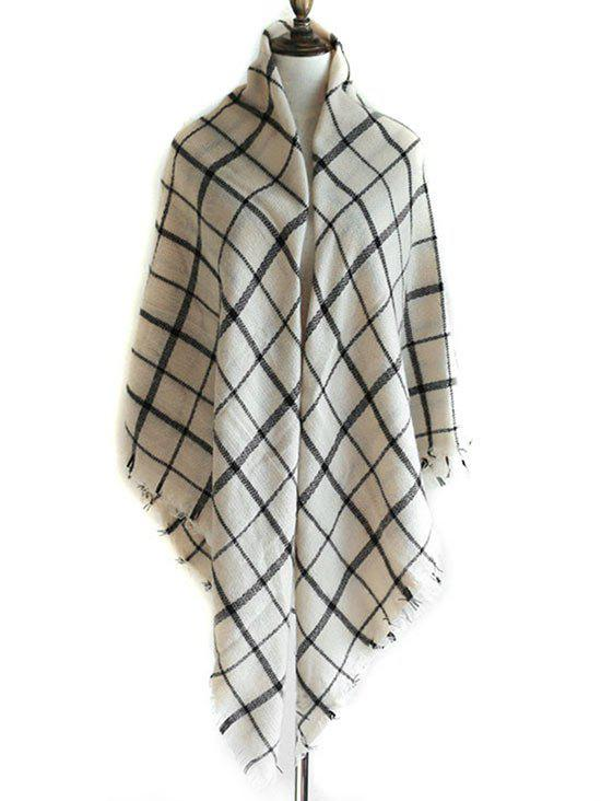 Checkered Pattern Decorated  Fringed Shawl Scarf - WHITE