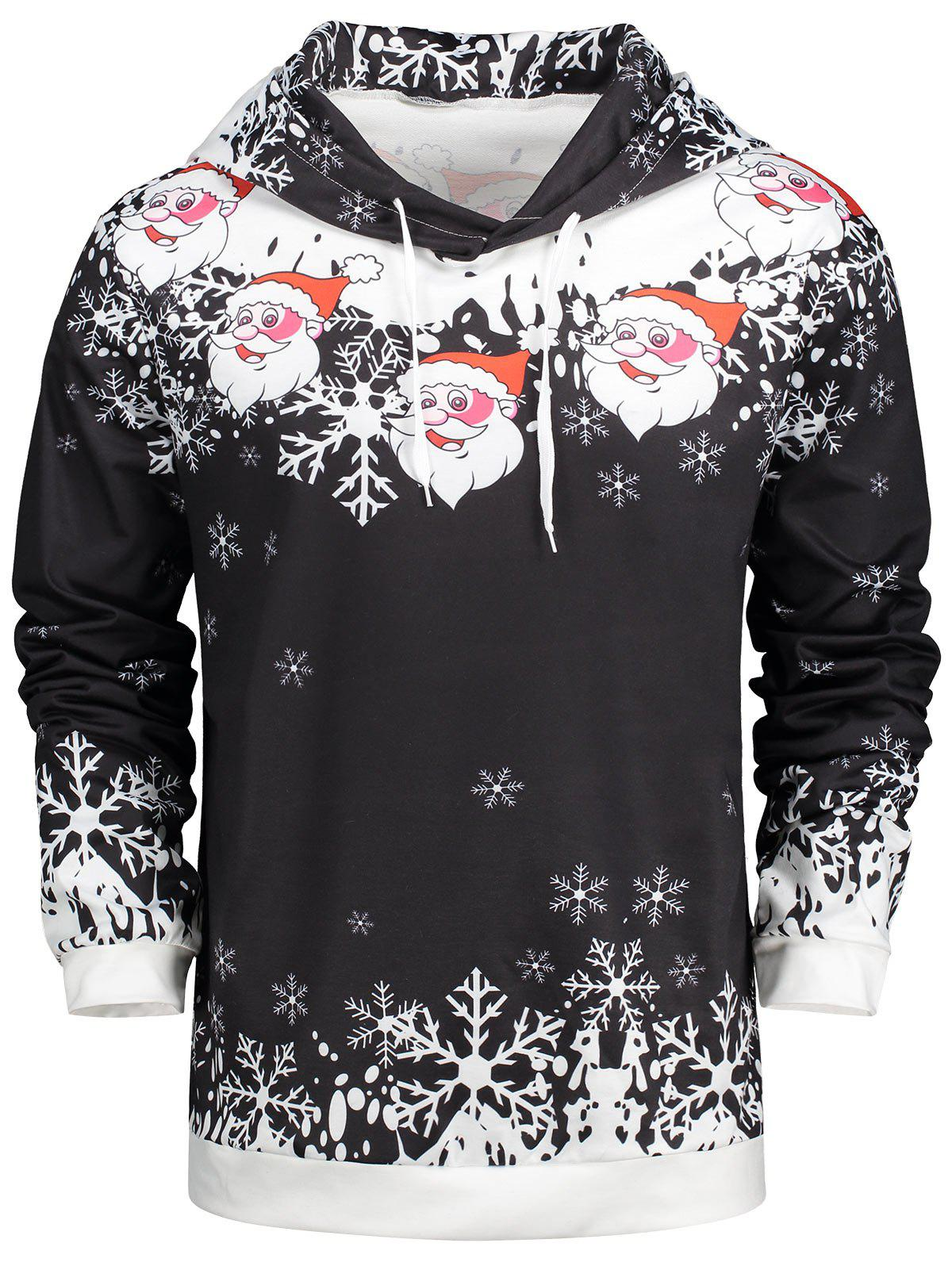 Christmas Drawstring Neck Santa Claus Hoodie - BLACK L