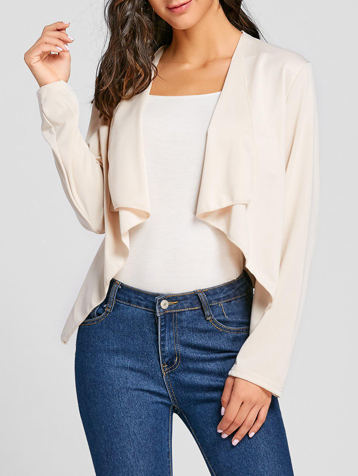 Draped Open Front Asymmetrical Cardigan - APRICOT L
