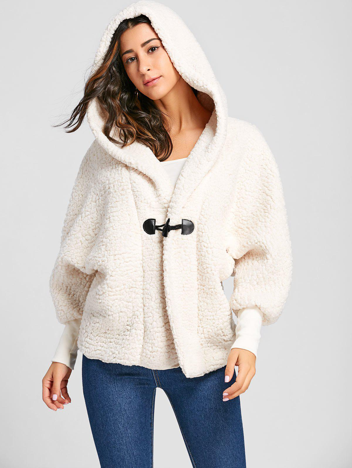 Dolman Sleeve Fuzzy Hooded Coat - OFF WHITE 2XL