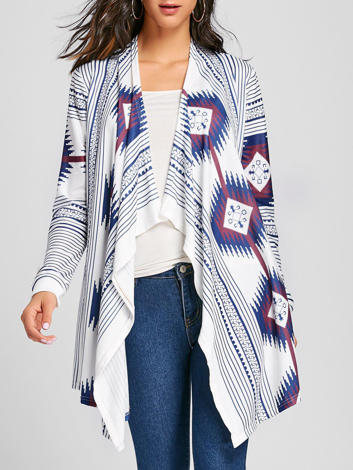 Open Front Ethnic Print Asymmetric Cardigan - COLORMIX XL