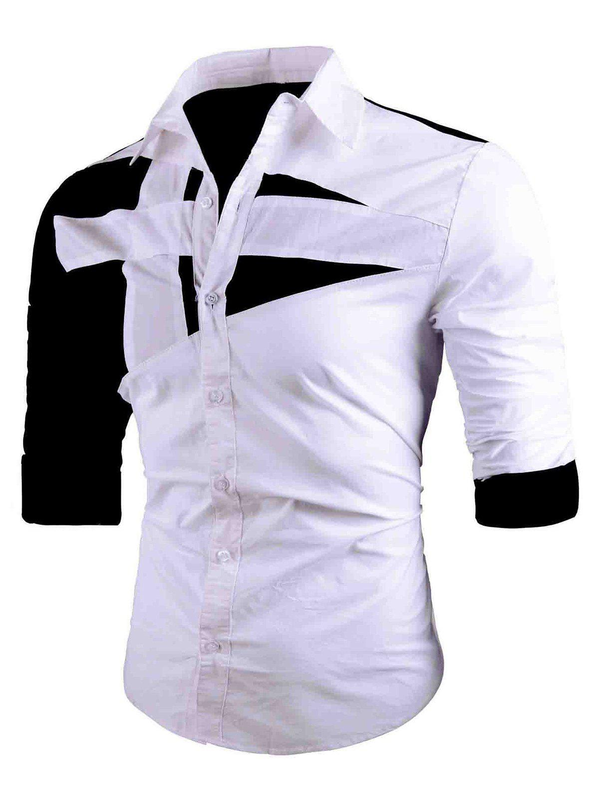 Button Up Two Tone Long Sleeve Shirt button up two tone work shirt