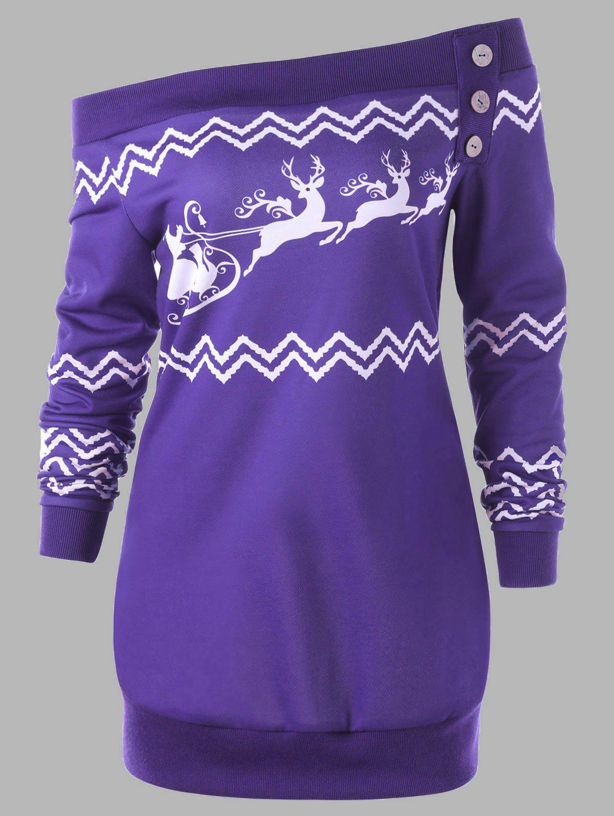 Plus Size Pullover Zigzag Deer Skew Neck Christmas Sweatshirt - PURPLE 2XL