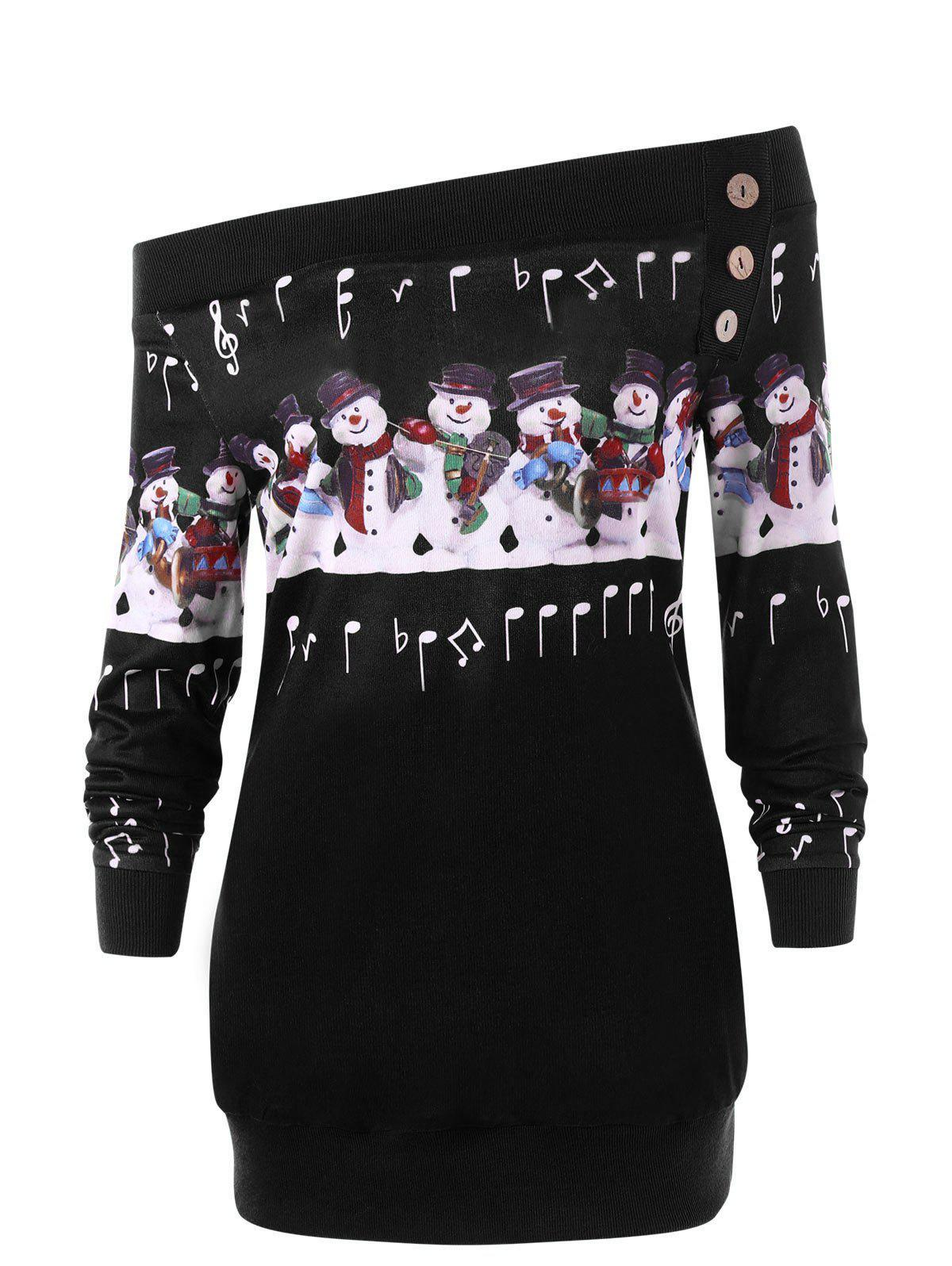 Plus Size Christmas Snowman Off The Shoulder Sweatshirt - BLACK 3XL