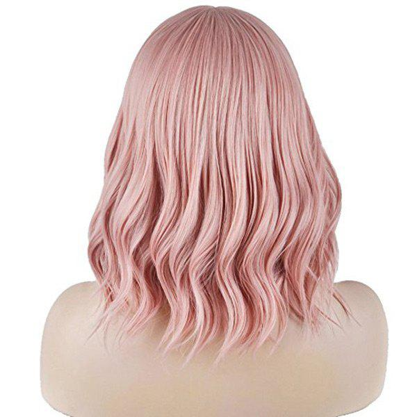 Medium Synthetic See-through Fringe Wavy Wig - PINK