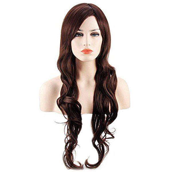 Long Oblique Bang Wavy Heat Resistant Synthetic Wig - DEEP BROWN
