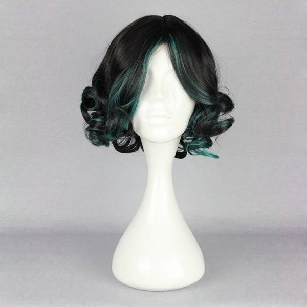 Short Side Bang Highlight Fluffy Curly Synthetic Wig - BLACK/GREEN