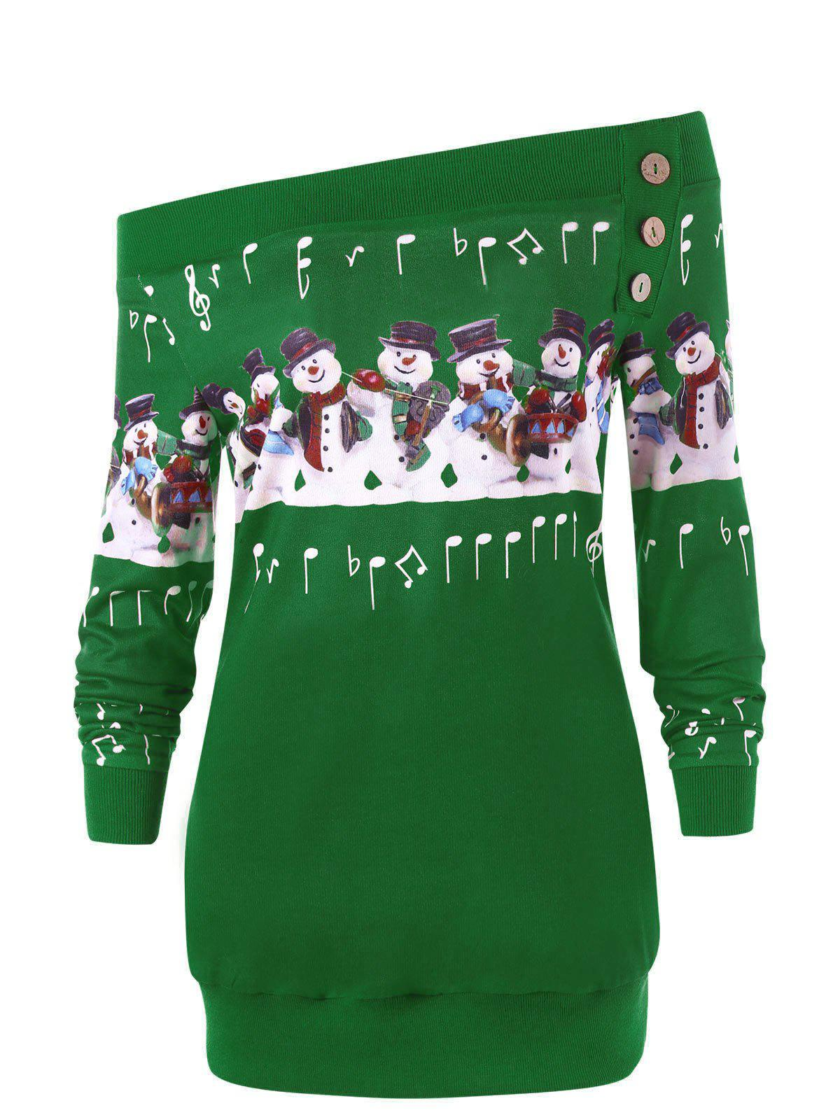Plus Size Christmas Snowman Off The Shoulder Sweatshirt - GREEN XL