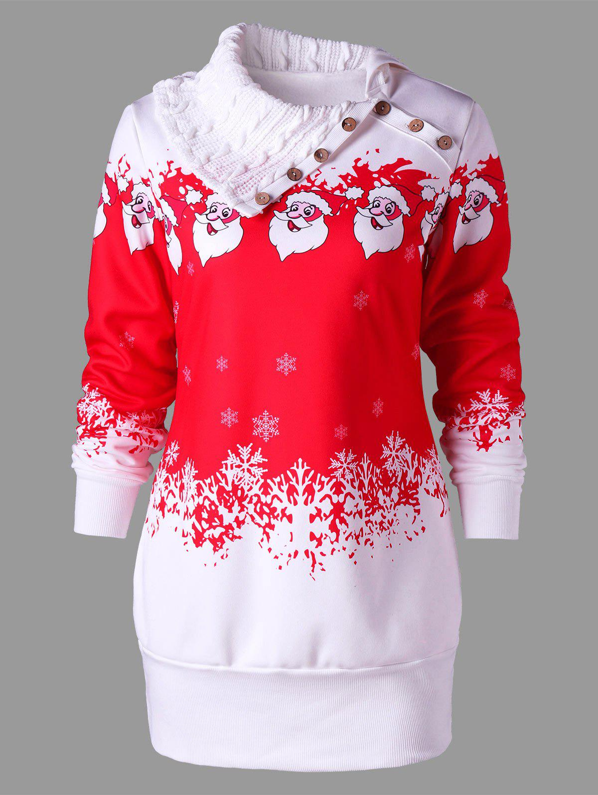 Santa Claus Printed Plus Size Tunic Sweatshirt Dress plus size letter print hooded sweatshirt dress