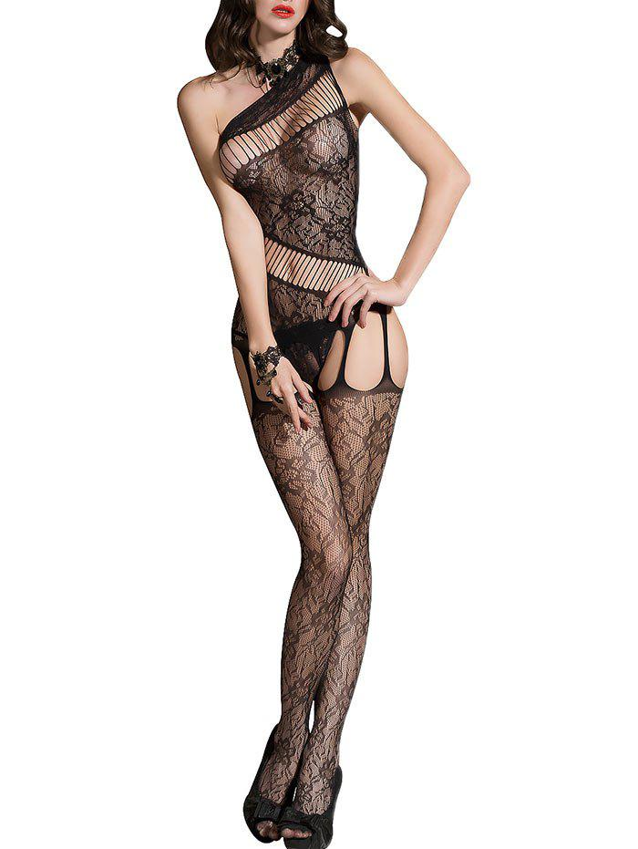 Un Bodystockings ouvert d'entrejambe de Fishnet d'épaule - Noir ONE SIZE
